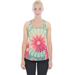 Background Floral Flower Texture Piece Up Tank Top