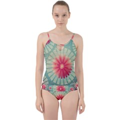 Background Floral Flower Texture Cut Out Top Tankini Set