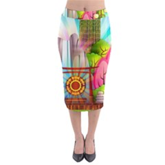 Zen Garden Japanese Nature Garden Midi Pencil Skirt