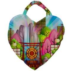 Zen Garden Japanese Nature Garden Giant Heart Shaped Tote