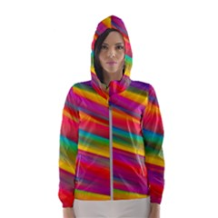 Colorful Background Hooded Wind Breaker (women)