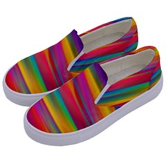 Colorful Background Kids  Canvas Slip Ons by Nexatart