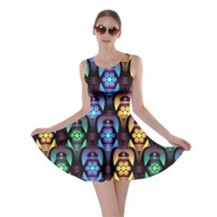 Pattern Background Bright Blue Skater Dress by Nexatart