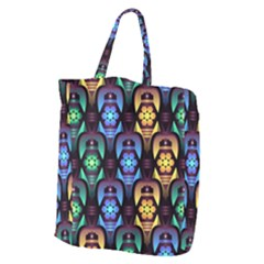 Pattern Background Bright Blue Giant Grocery Zipper Tote