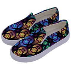 Pattern Background Bright Blue Kids  Canvas Slip Ons by Nexatart