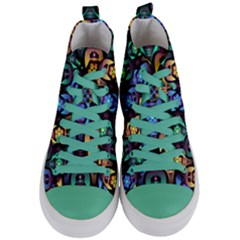 Pattern Background Bright Blue Women s Mid Top Canvas Sneakers