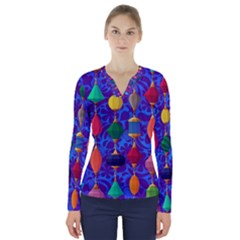 Colorful Background Stones Jewels V Neck Long Sleeve Top