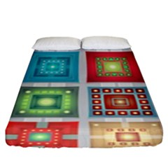 Tiles Pattern Background Colorful Fitted Sheet (king Size)