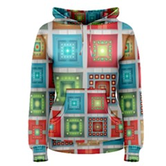 Tiles Pattern Background Colorful Women s Pullover Hoodie