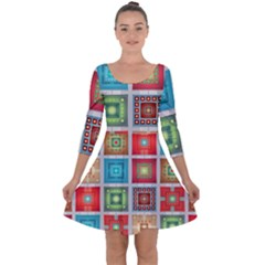 Tiles Pattern Background Colorful Quarter Sleeve Skater Dress
