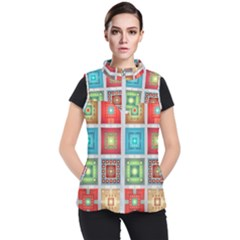 Tiles Pattern Background Colorful Women s Puffer Vest