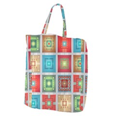 Tiles Pattern Background Colorful Giant Grocery Zipper Tote