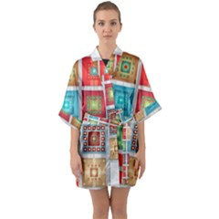 Tiles Pattern Background Colorful Quarter Sleeve Kimono Robe