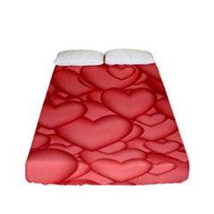 Background Hearts Love Fitted Sheet (full/ Double Size)