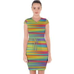 Colorful Background Capsleeve Drawstring Dress