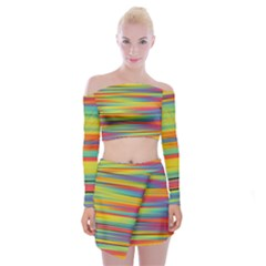 Colorful Background Off Shoulder Top With Mini Skirt Set