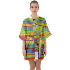 Colorful Background Quarter Sleeve Kimono Robe