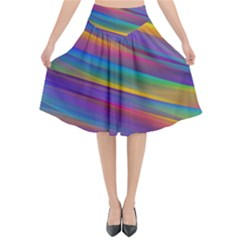 Colorful Background Flared Midi Skirt
