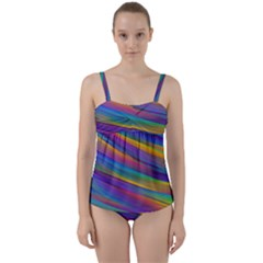 Colorful Background Twist Front Tankini Set