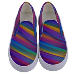 Colorful Background Kids  Canvas Slip Ons