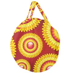 Floral Abstract Background Texture Giant Round Zipper Tote
