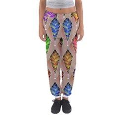 Abstract Background Colorful Leaves Women s Jogger Sweatpants