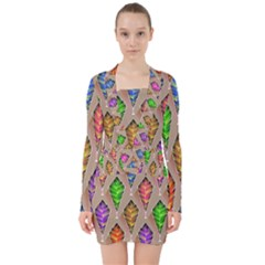 Abstract Background Colorful Leaves V Neck Bodycon Long Sleeve Dress by Nexatart