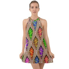 Abstract Background Colorful Leaves Halter Tie Back Chiffon Dress
