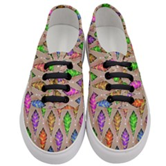 Abstract Background Colorful Leaves Women s Classic Low Top Sneakers