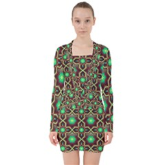Pattern Background Bright Brown V Neck Bodycon Long Sleeve Dress by Nexatart