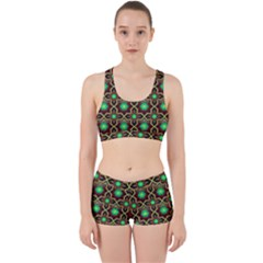 Pattern Background Bright Brown Work It Out Sports Bra Set by Nexatart