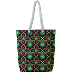 Pattern Background Bright Brown Full Print Rope Handle Tote (small)