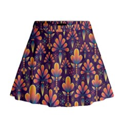Abstract Background Floral Pattern Mini Flare Skirt by Nexatart