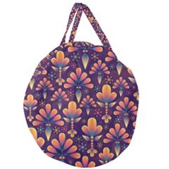 Abstract Background Floral Pattern Giant Round Zipper Tote