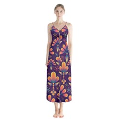 Abstract Background Floral Pattern Button Up Chiffon Maxi Dress