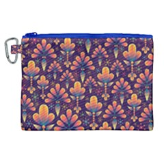 Abstract Background Floral Pattern Canvas Cosmetic Bag (xl)