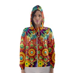Colorful Abstract Background Colorful Hooded Wind Breaker (women) by Nexatart