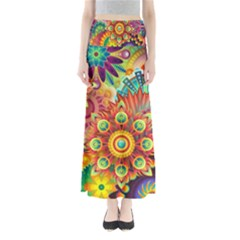 Colorful Abstract Background Colorful Full Length Maxi Skirt by Nexatart