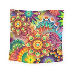 Colorful Abstract Background Colorful Square Tapestry (small)