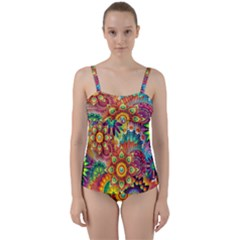 Colorful Abstract Background Colorful Twist Front Tankini Set by Nexatart