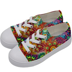 Colorful Abstract Background Colorful Kids  Low Top Canvas Sneakers by Nexatart