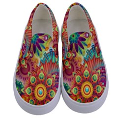 Colorful Abstract Background Colorful Kids  Canvas Slip Ons