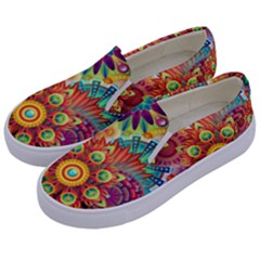 Colorful Abstract Background Colorful Kids  Canvas Slip Ons by Nexatart