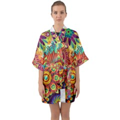 Colorful Abstract Background Colorful Quarter Sleeve Kimono Robe by Nexatart