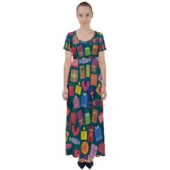 Presents Gifts Background Colorful High Waist Short Sleeve Maxi Dress