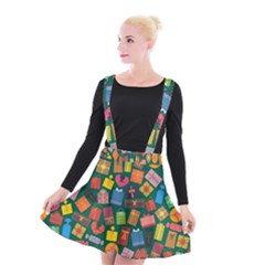 Presents Gifts Background Colorful Suspender Skater Skirt by Nexatart