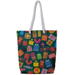 Presents Gifts Background Colorful Full Print Rope Handle Tote (small)