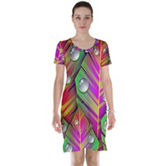 Abstract Background Colorful Leaves Short Sleeve Nightdress