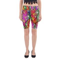 Abstract Background Colorful Leaves Yoga Cropped Leggings