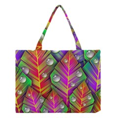 Abstract Background Colorful Leaves Medium Tote Bag